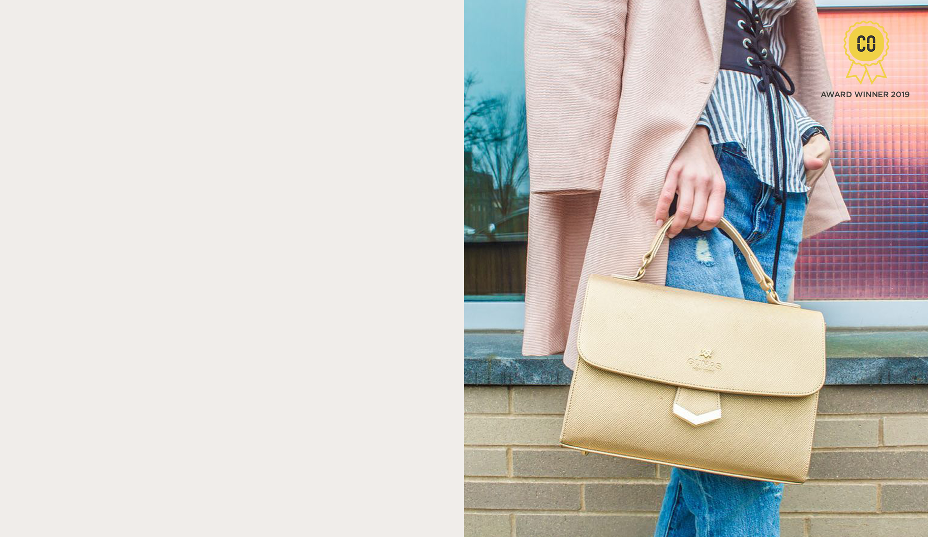 Woman holding sustainable Gunas bag