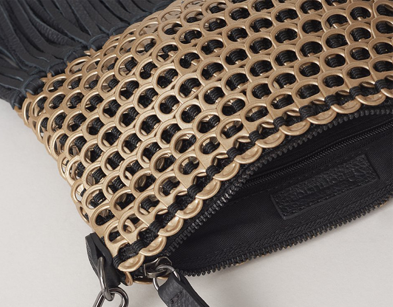 Zoomed in close up of Bottletop sustainable upcycled bag