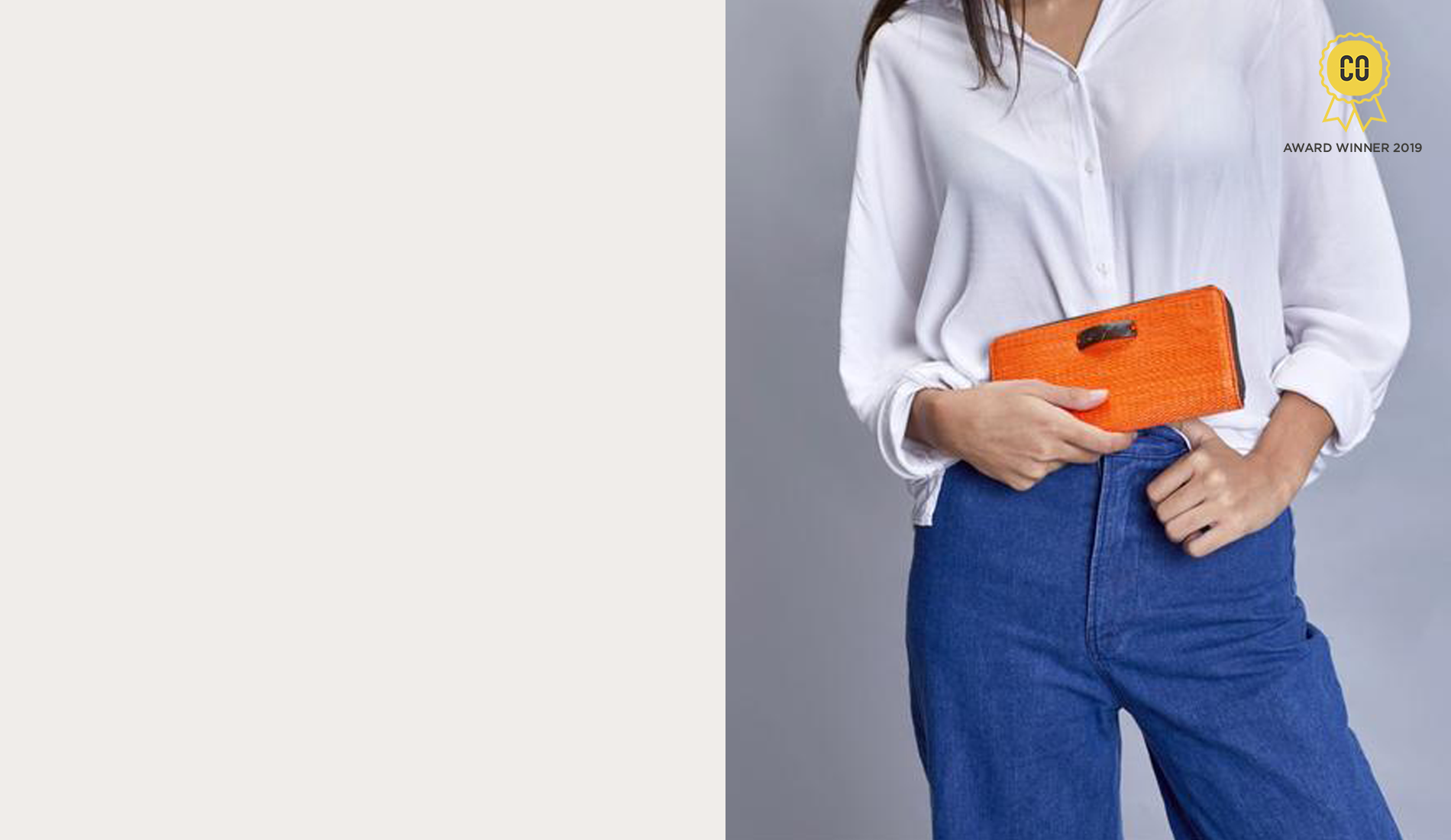 Woman holding a Kantala sustainable clutch