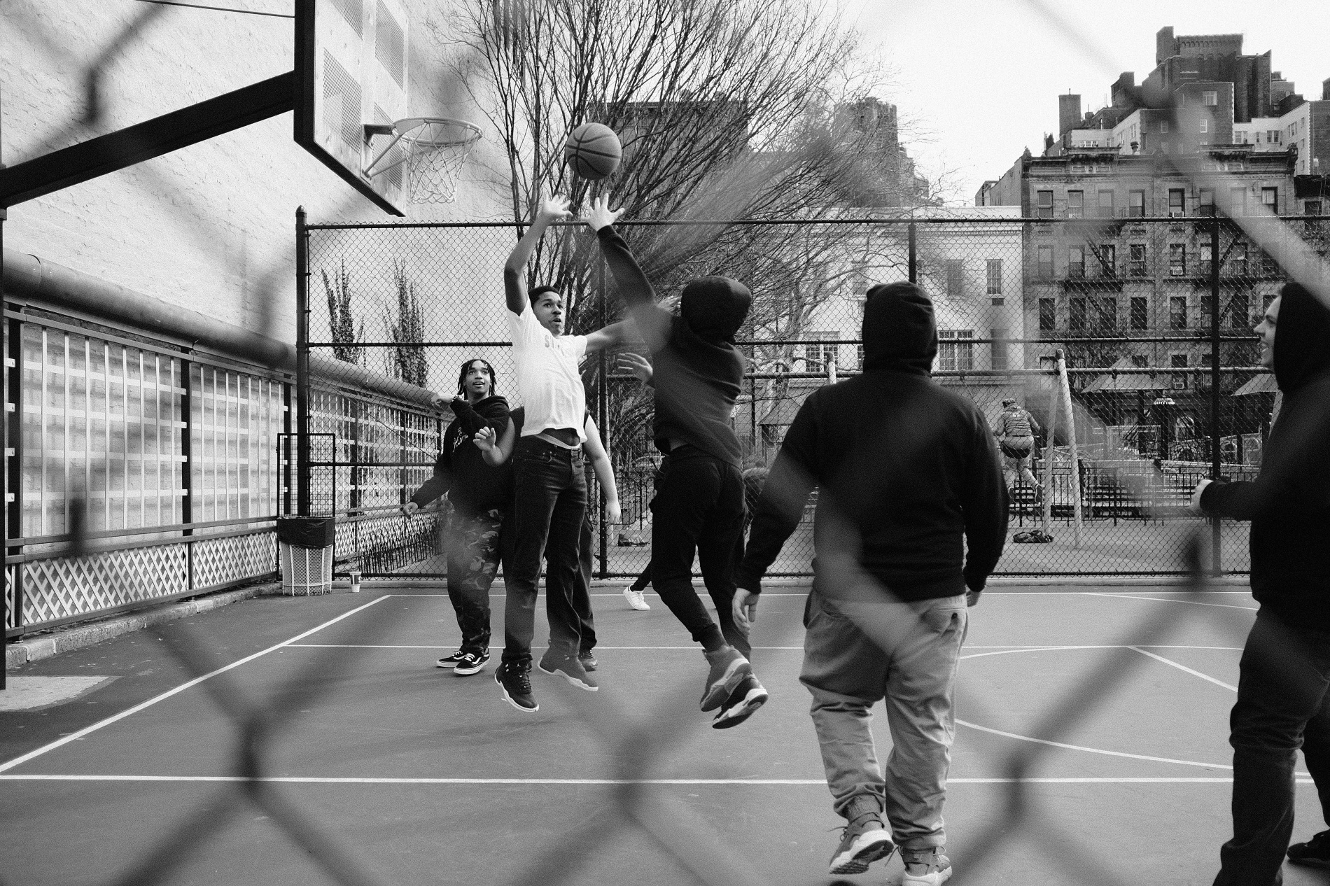 Playing basketball in New York